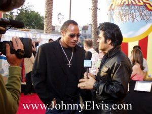 Elvis Impersonator Johnny Thompson with Dwayne Johnson